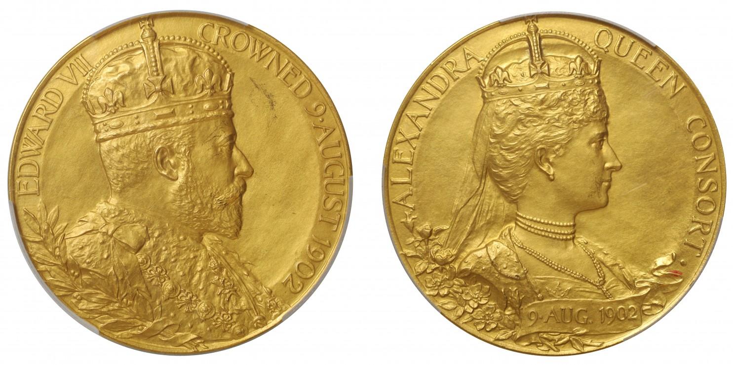 イギリス1902年エドワード7世 大型戴冠金メダルPCGS SP62画像