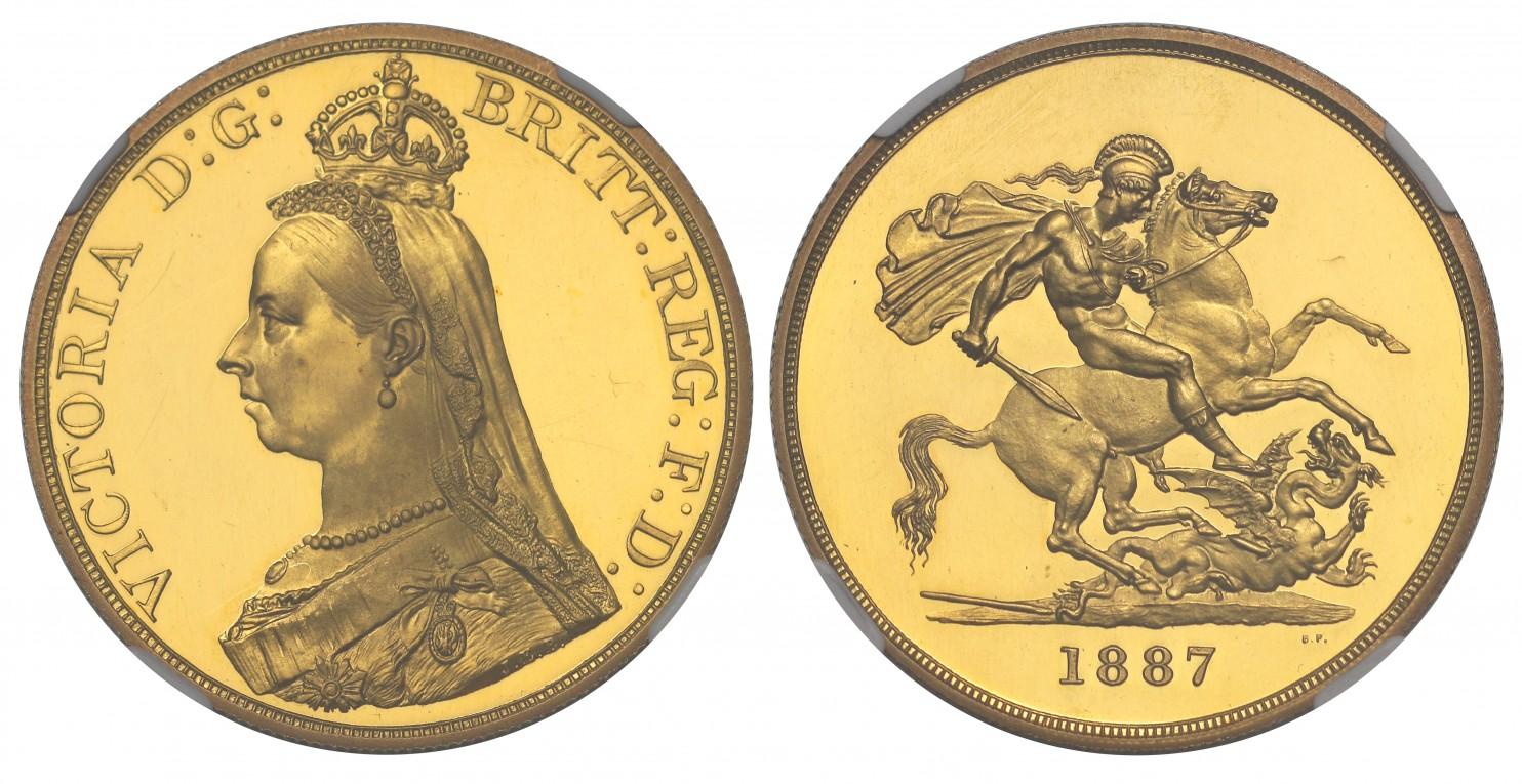 イギリス1887年ヴィクトリア5ポンド金貨NGC PF63UCAM画像