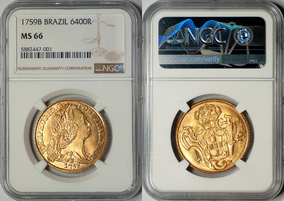 ブラジル1759年6400レイス金貨NGC MS66最高鑑定画像