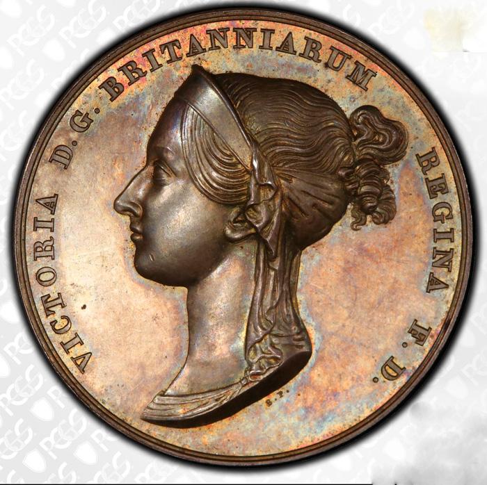 イギリス1838年ヴィクトリア戴冠銀メダルPCGS SP 64画像