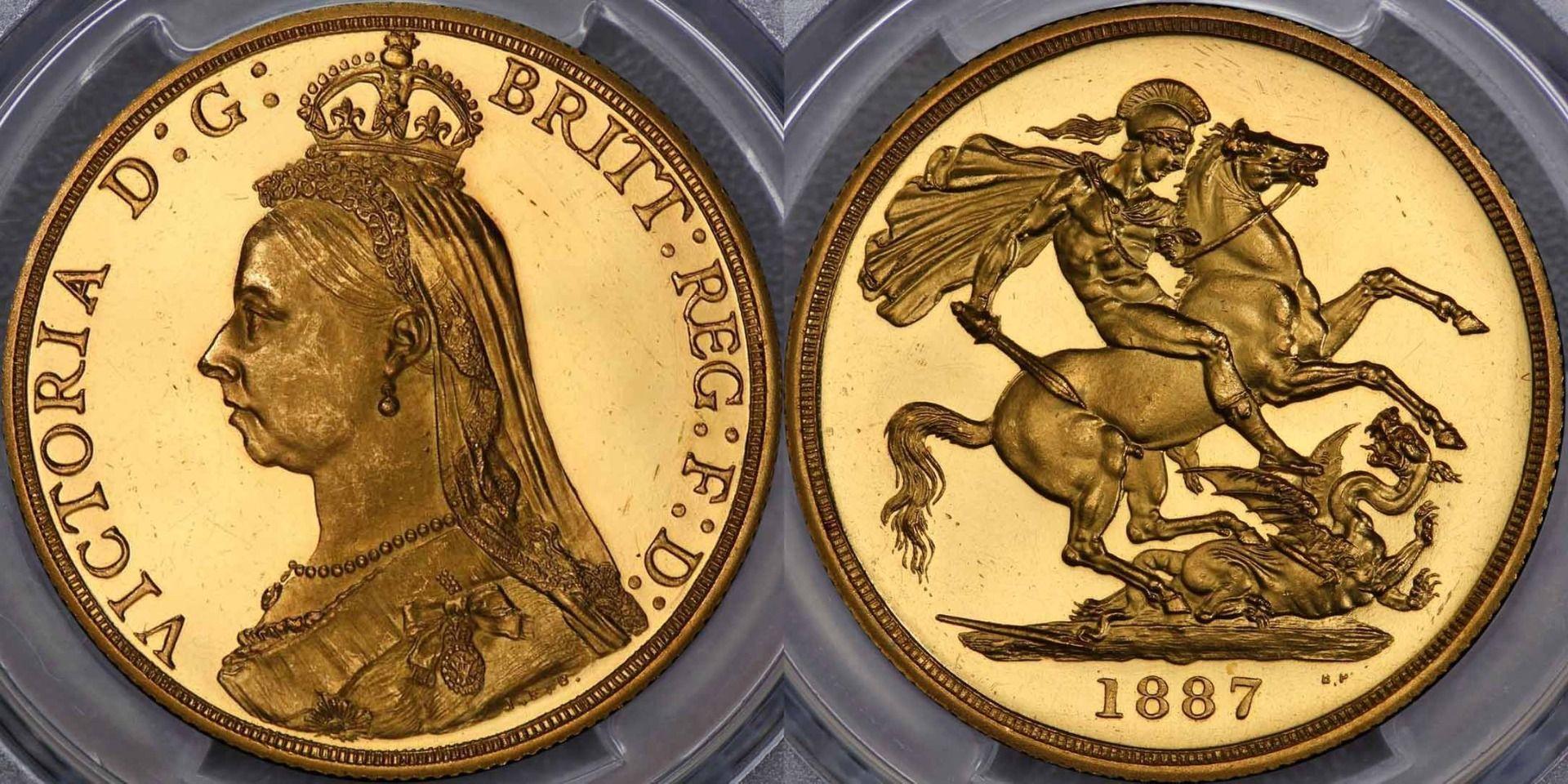 イギリス1887年ヴィクトリア2ポンド金貨 PCGS PR63DCAM画像