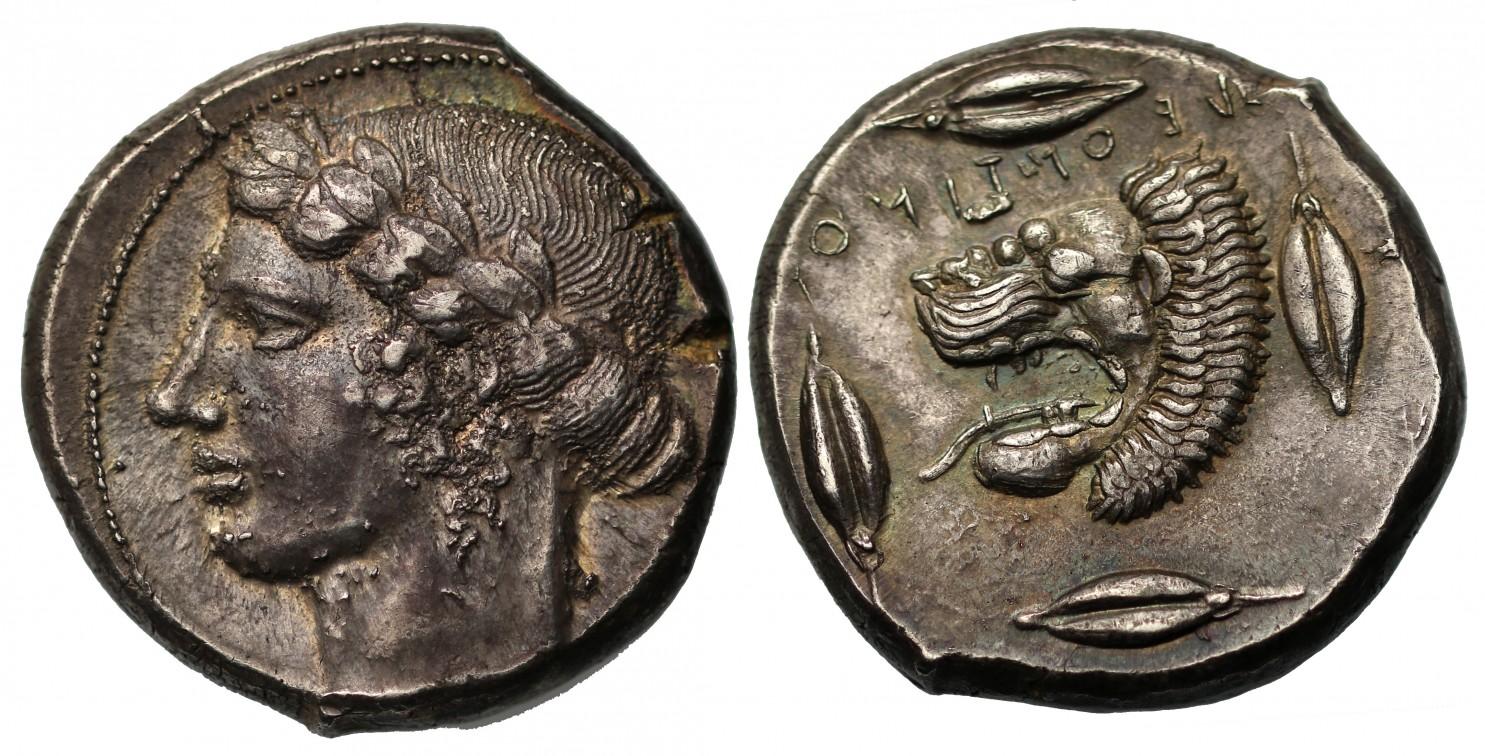 古代ギリシャ シシリー レオンティノイ BC 430年 テトラドラクマ銀貨画像