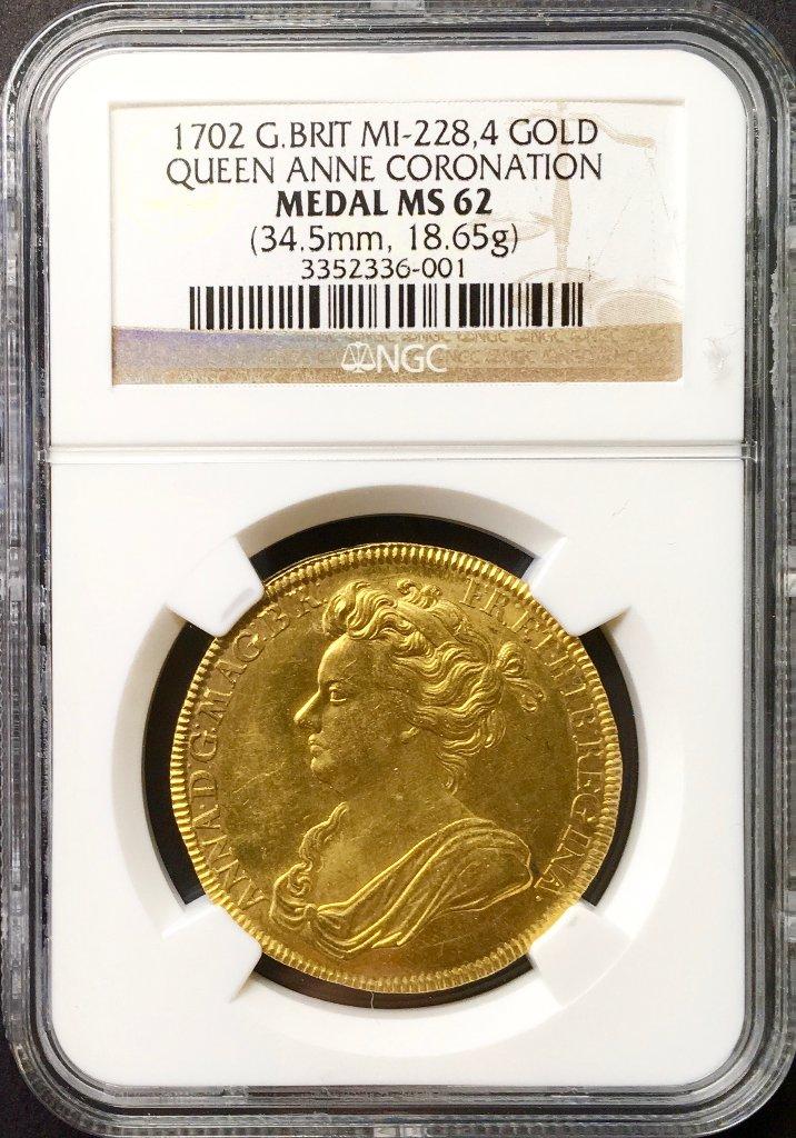 イギリス 1702年アン女王戴冠メダルNGC MS62の画像