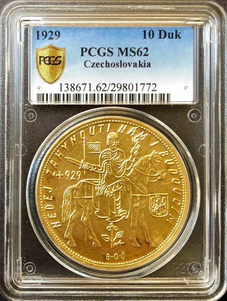 チェコスロバキア1929年10ダカット金貨PCGS MS62の画像