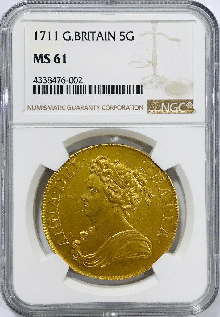 イギリス1711年アン女王5ギニー金貨MS61  の画像