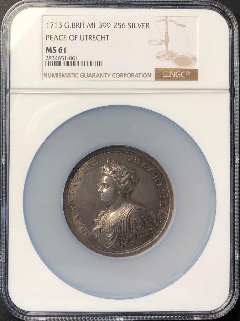 イギリス1713年アン女王ユトレヒト大型銀メダルMS61の画像