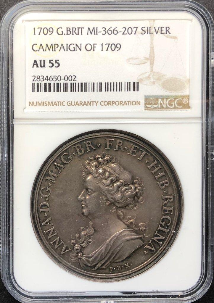 イギリス1709年アン女王キャンペーン銀メダルNGC AU55の画像