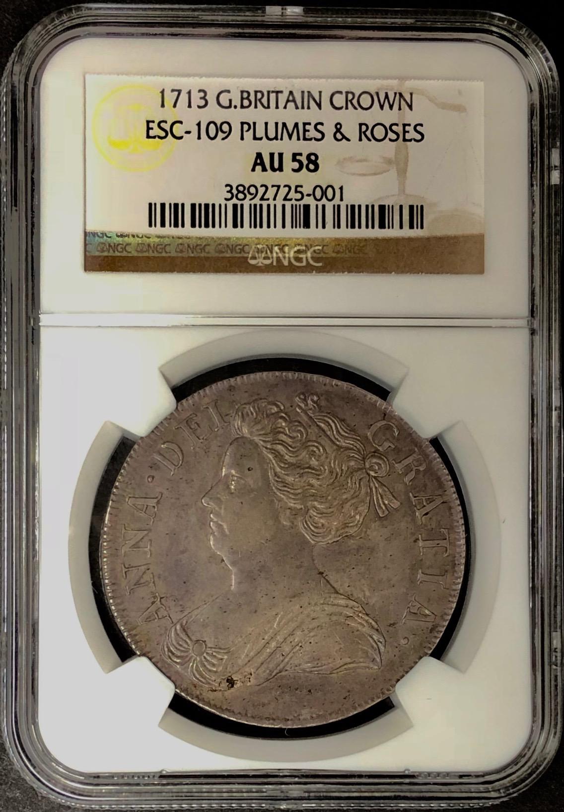 イギリス1713年アン女王クラウン銀貨AU58画像