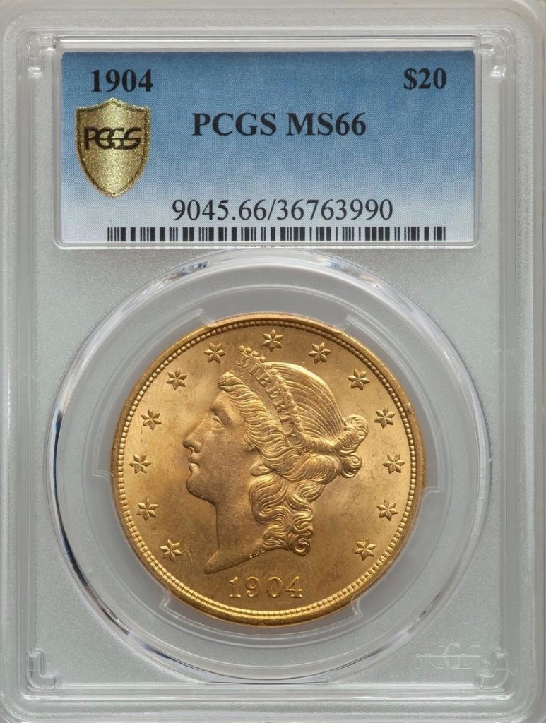 アメリカ1904年20ドル金貨PCGS MS66の画像