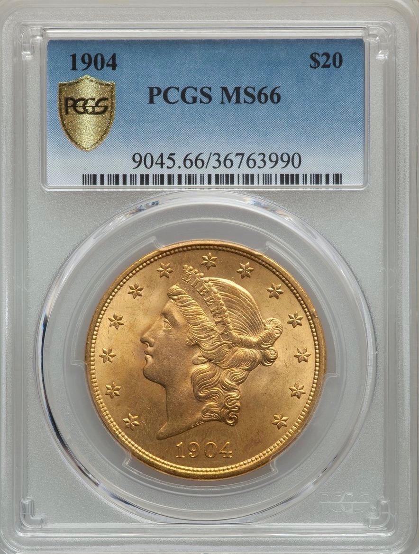 アメリカ1904年20ドル金貨PCGS MS66画像
