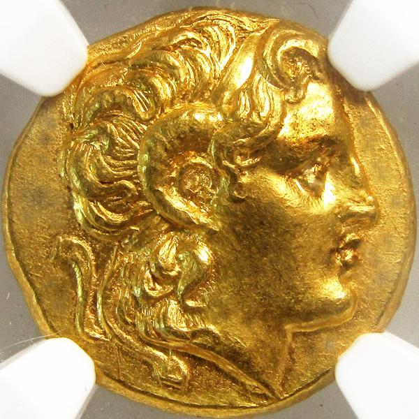 古代ギリシャ マケドニア トラキア スターテル金貨NGC MS Str 5/5 Sur 4/5画像