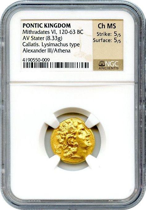 古代ギリシャ ポントスBC120-63ミトラダテス4世スターテル金貨NGC CH MS Str.5/5 Sur.5/5画像