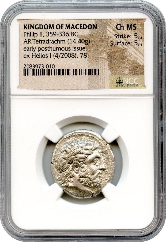 古代ギリシャ マケドニアBC359-336 テトラドラクマ銀貨NGC CH MS Str.5/5 Sur.5/5の画像