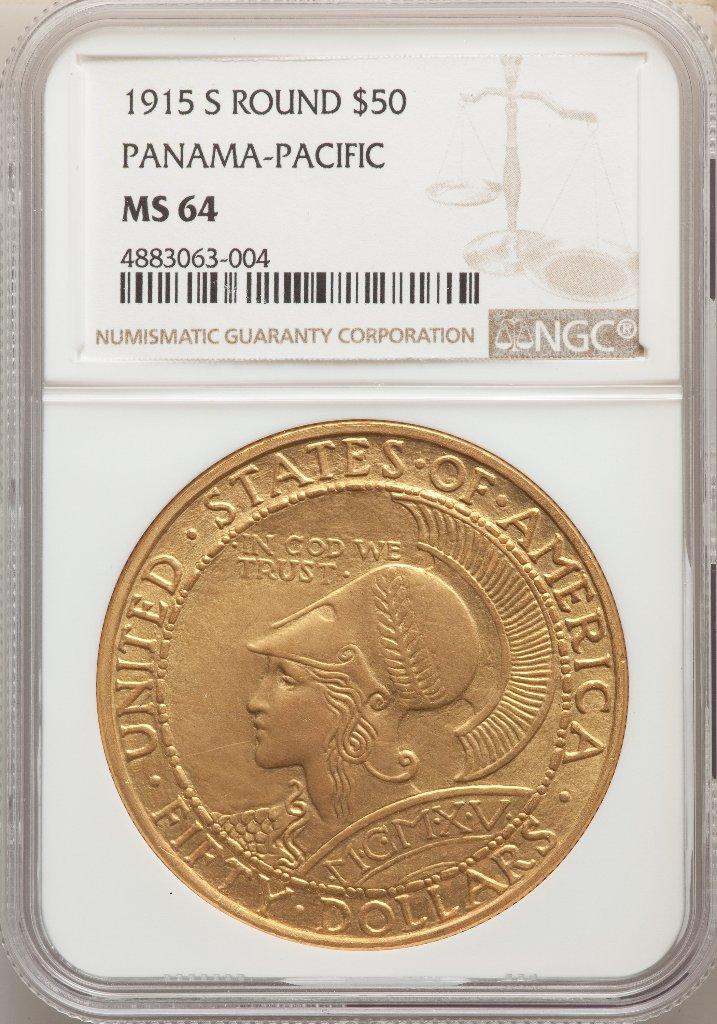 アメリカ1915年パナマパシフィック50ドル金貨NGC MS64の画像