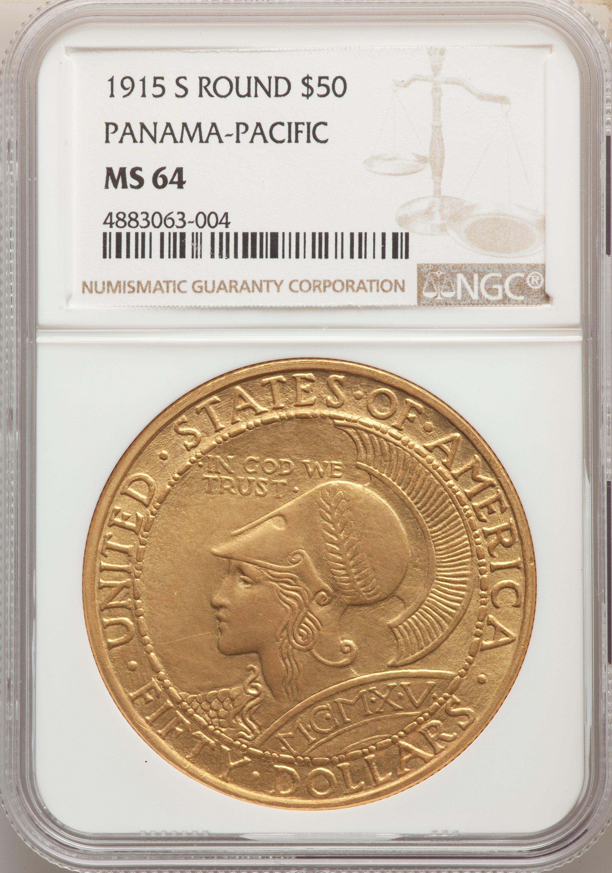 アメリカ1915年パナマパシフィック50ドル金貨NGC MS64画像