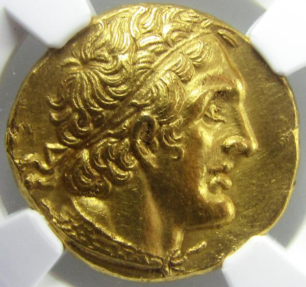 古代ギリシャ エジプト BC286-246プトレマイオス1世ペンタドラクマ金貨NGC CHAU5/5 3/5 brushedの画像
