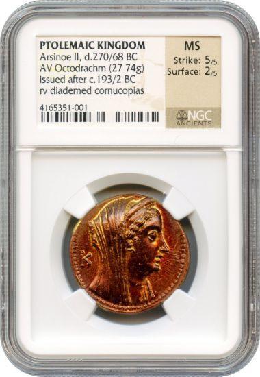 古代ギリシャ 紀元前270〜268年オクタドラクマ金貨アルシノエNGC MS5/5 2/5の画像