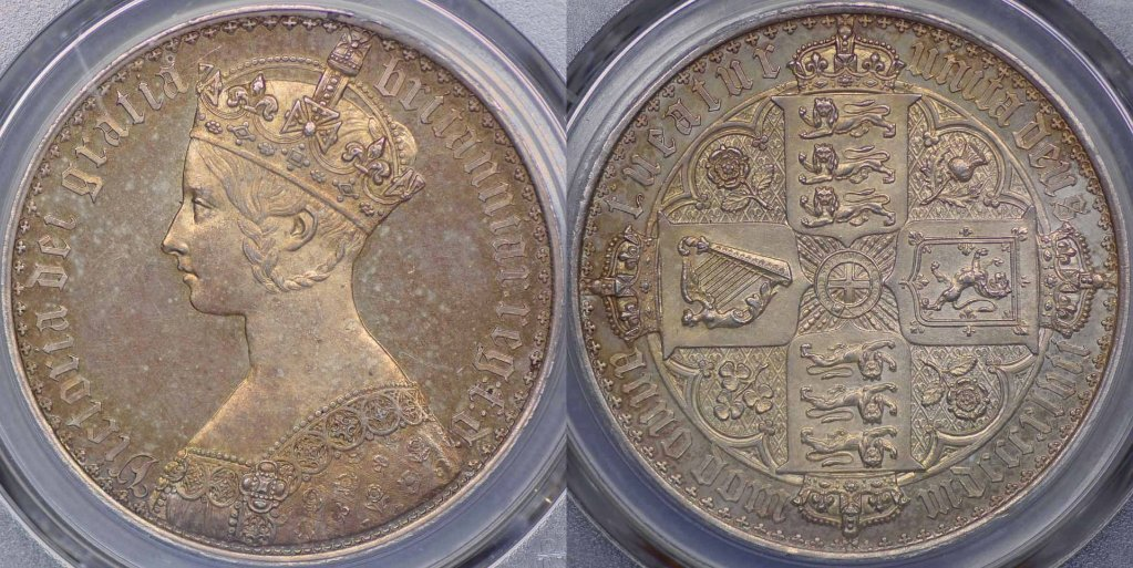 イギリス1847年ヴィクトリア ゴシッククラウン銀貨PCGS PR63の画像