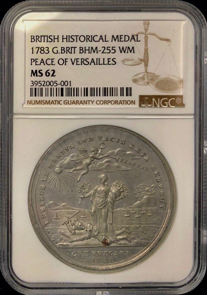 イギリス1783年ヴェルサイユ条約銀メダルNGC MS62の画像