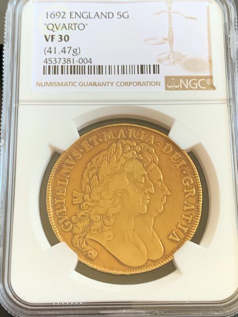 イギリス1692年ウイリアム&メアリ5ギニー金貨NGC VF30画像