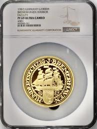 ドイツ 1987年ブレーマーハーフェン12オンス金貨PF69UCAM 画像
