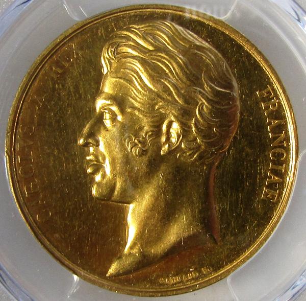 フランス1825年シャルル10世戴冠ゴールドメダルPCGS SP61画像