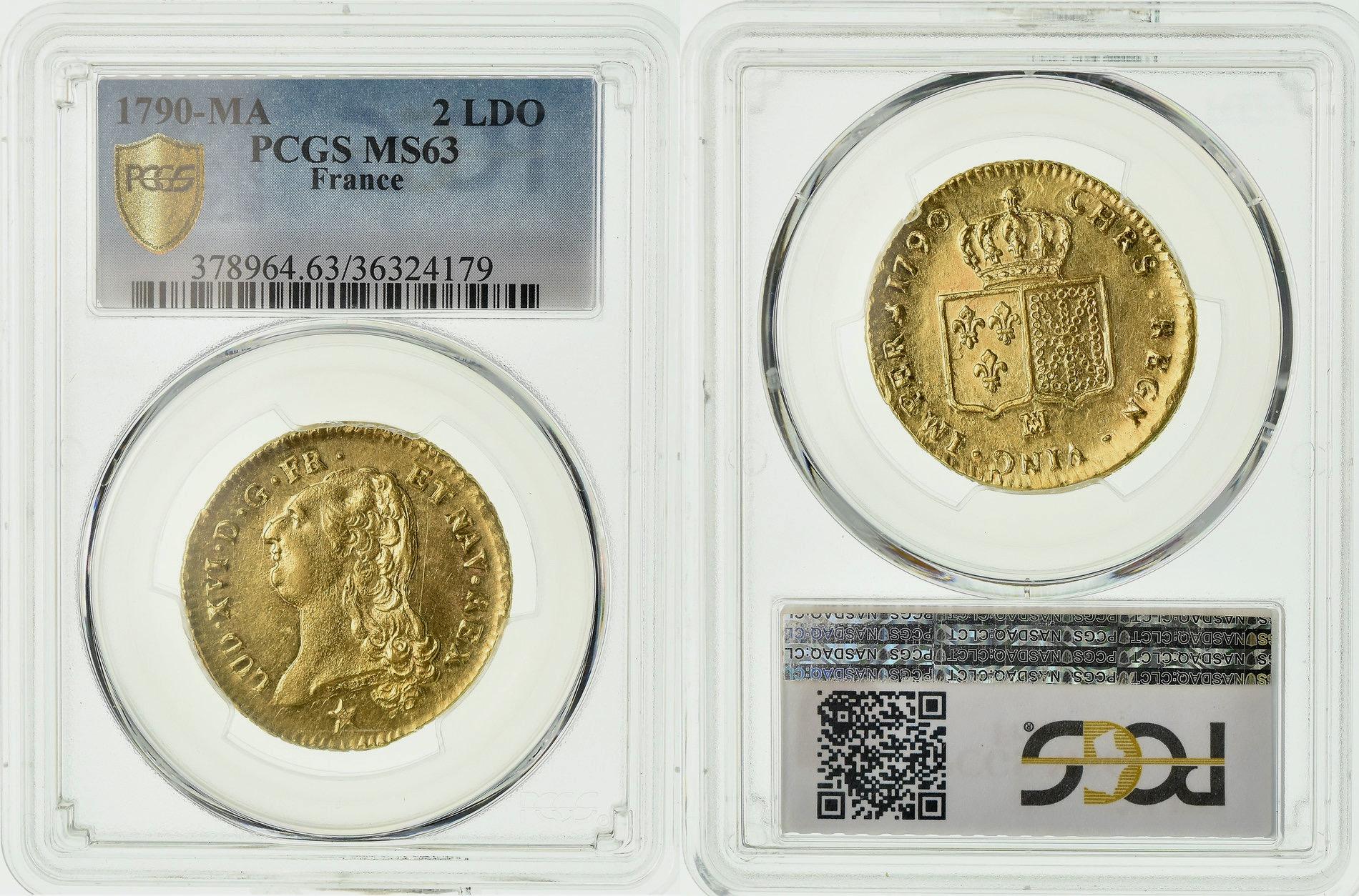 フランス1790年ルイ16世2ルイドール金貨 PCGS MS63画像