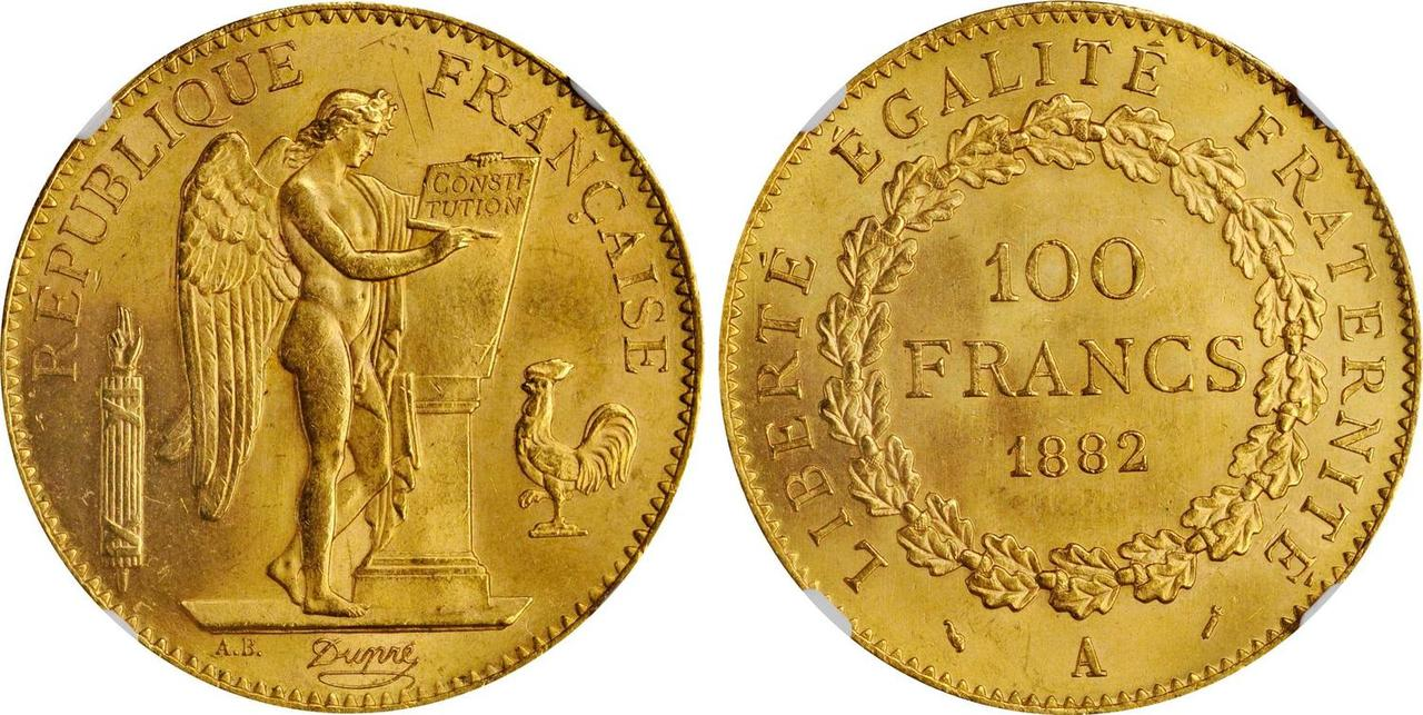 フランス1882年100フラン金貨NGC MS64画像