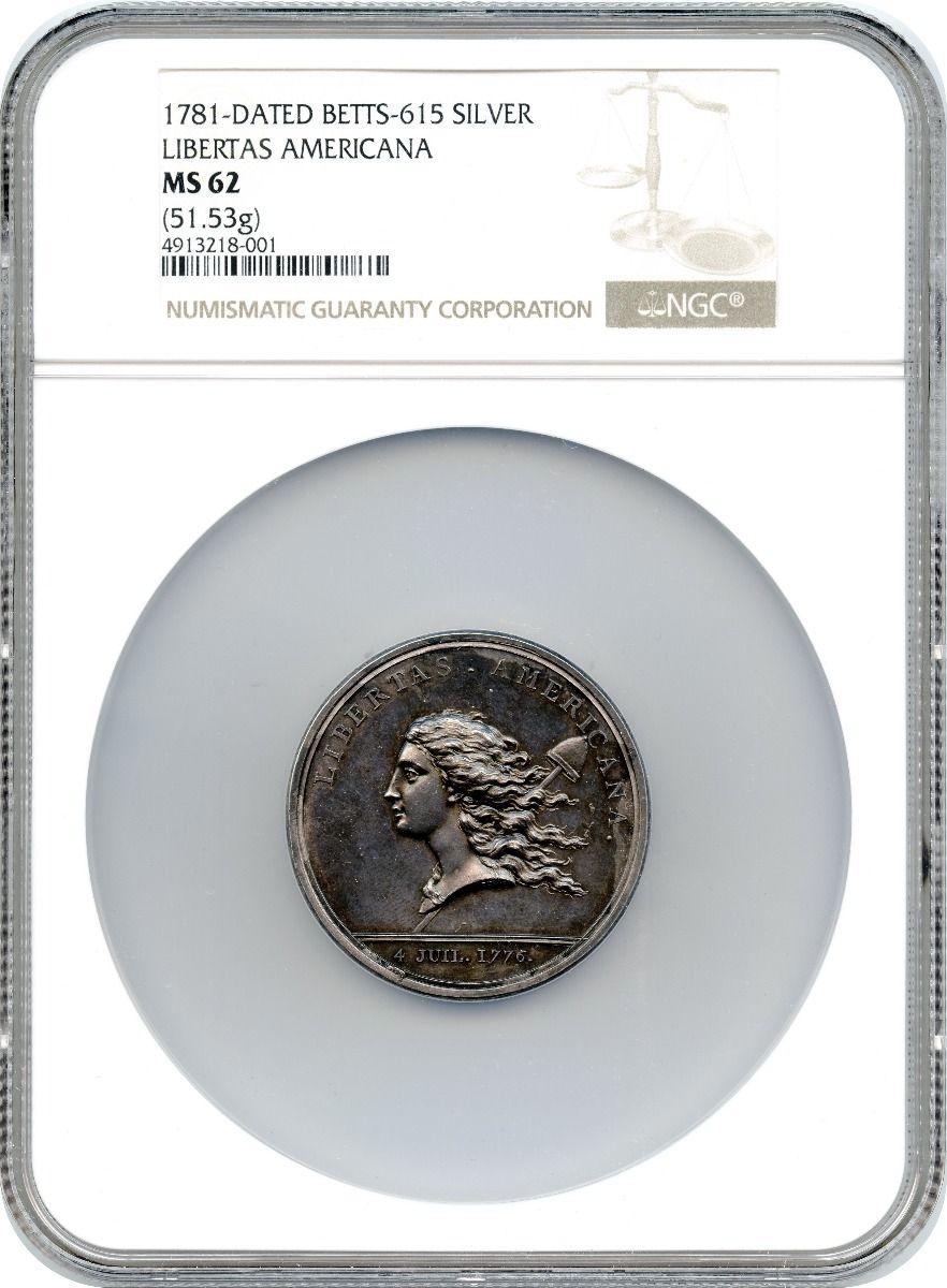 アメリカ1781年リベルタス アメリカーナオリジナル銀メダルNGC MS62画像