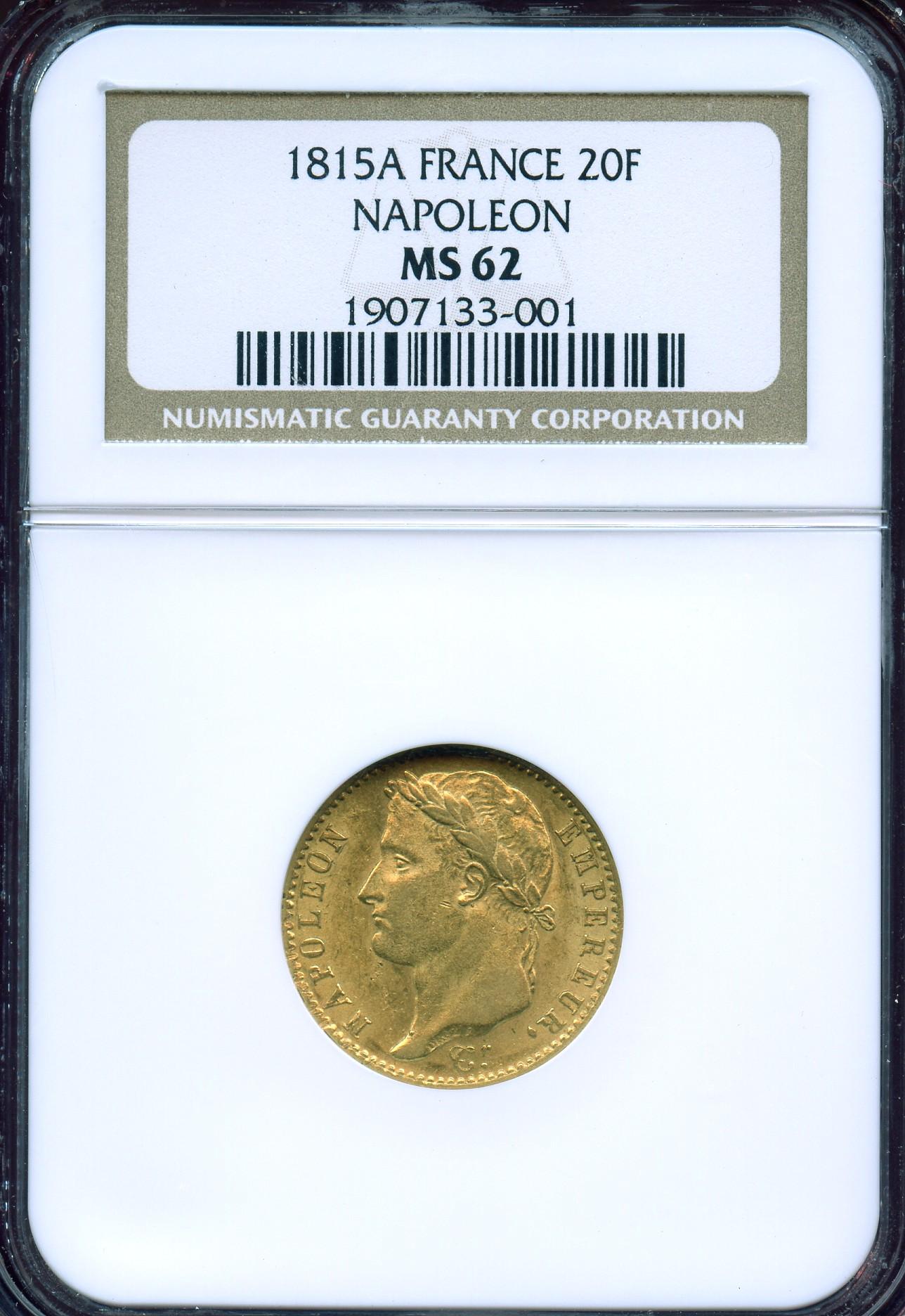 フランス1815年20フラン金貨ナポレオン百日天下NGC MS62画像