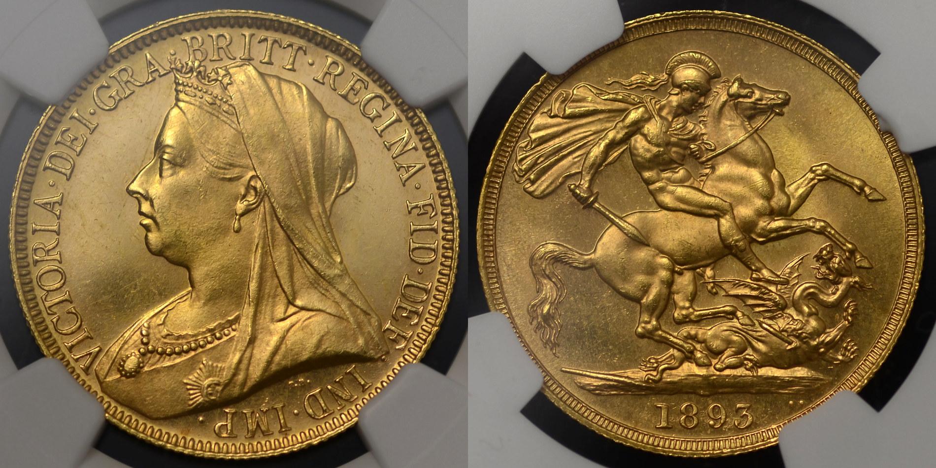イギリス1893年ヴィクトリア2ポンド金貨NGC MS63画像