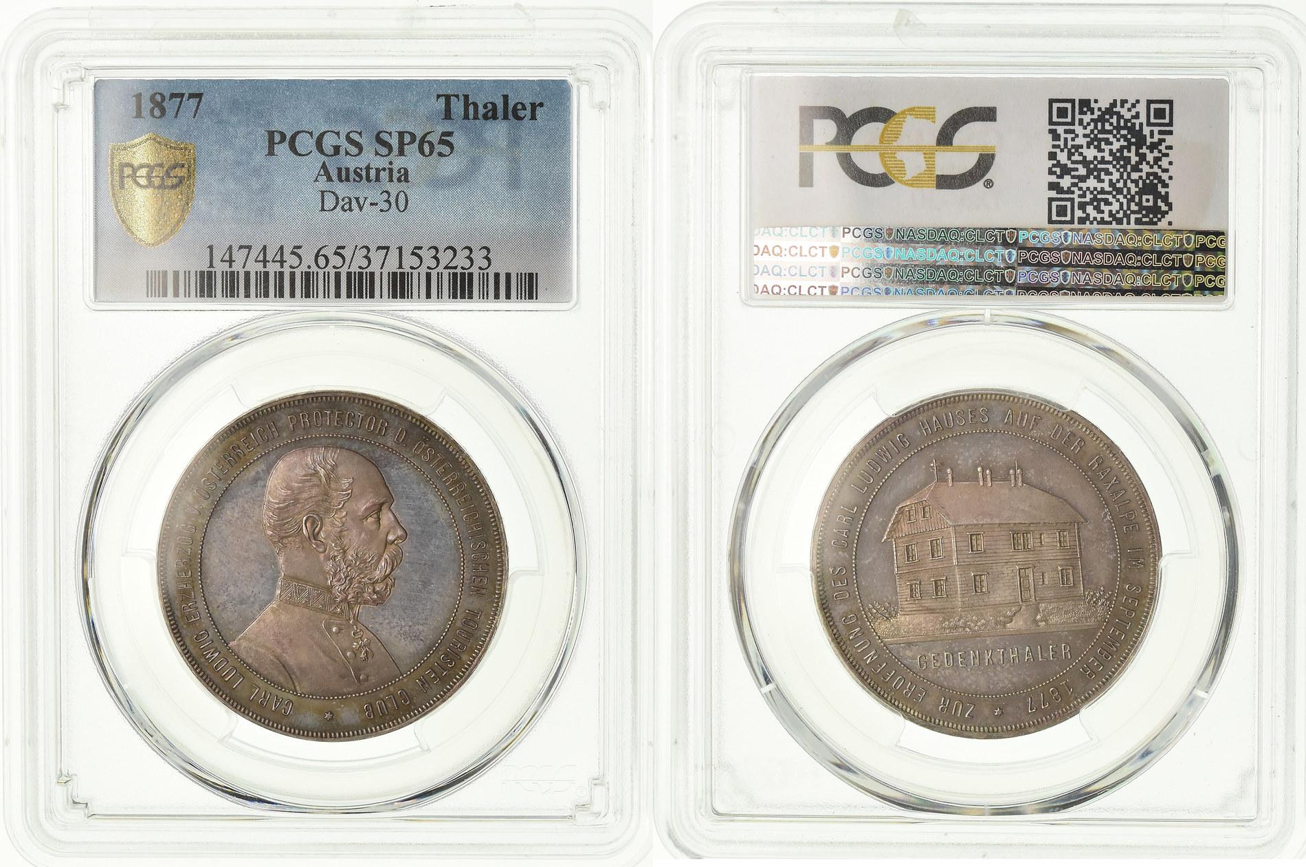 オーストリア1877年ターラー銀貨ラクサルペ山荘PCGS SP65画像