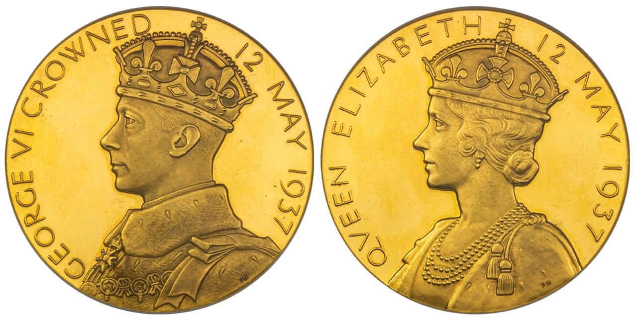 イギリス1937年ジョージ6世戴冠大型メダルNGC PR62UCAM画像