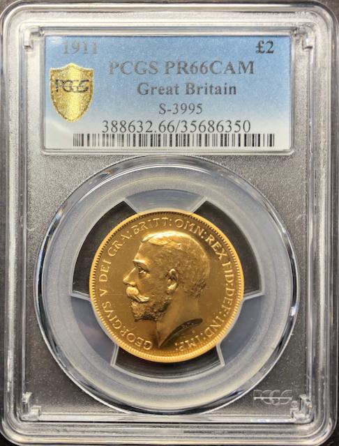 イギリス1911年ジョージ5世2ポンド金貨PCGS PR66CAM画像