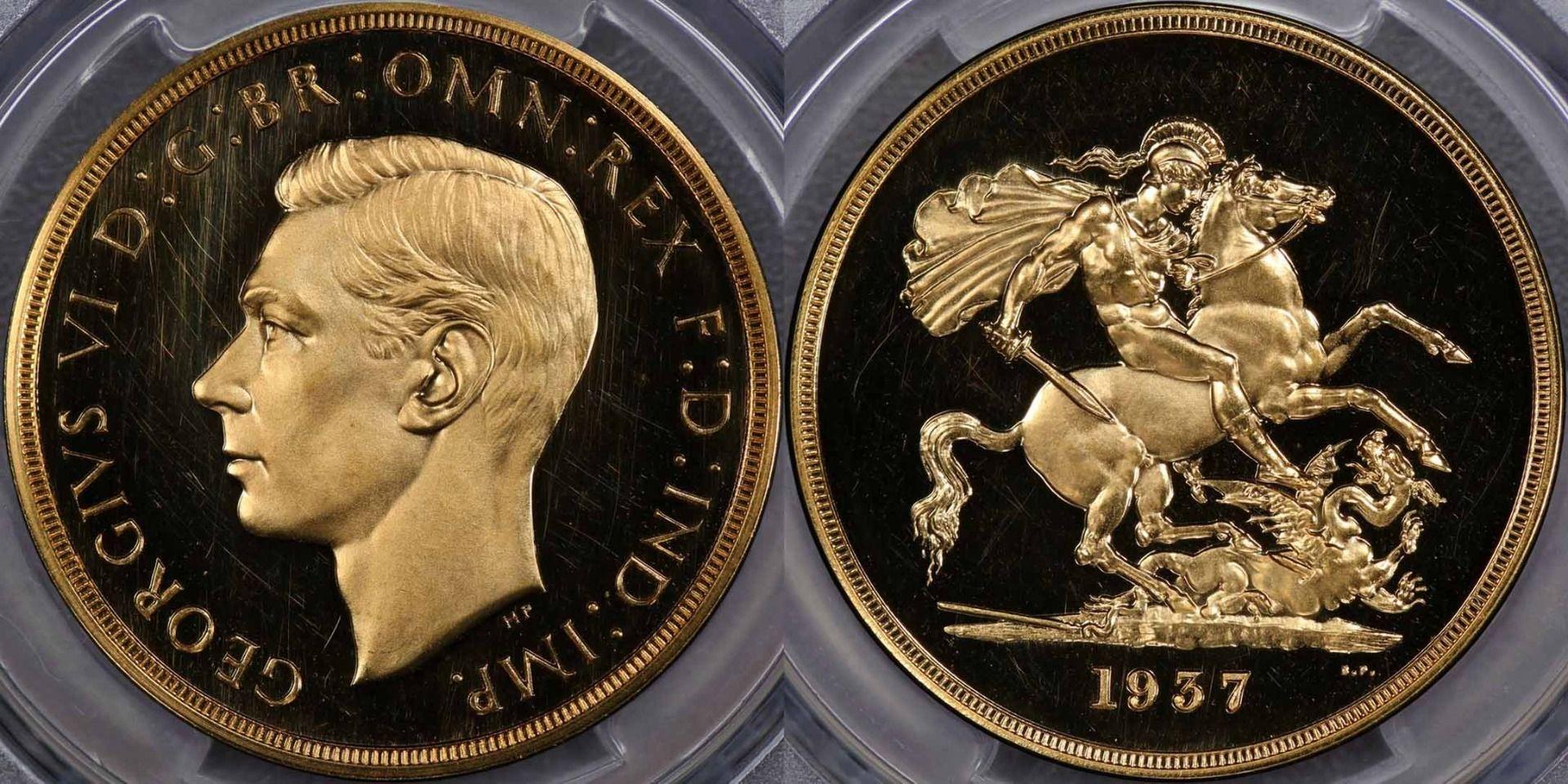 イギリス1937年ジョージ6世5ポンド金貨PCGS PR64DCAM画像