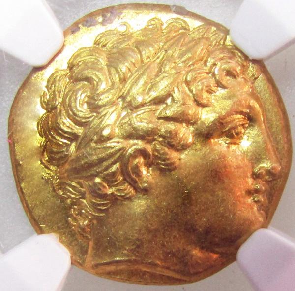古代ギリシャ ピリッポス3世スターテル金貨 NGC MS 5/5 3/5 Fine Style画像