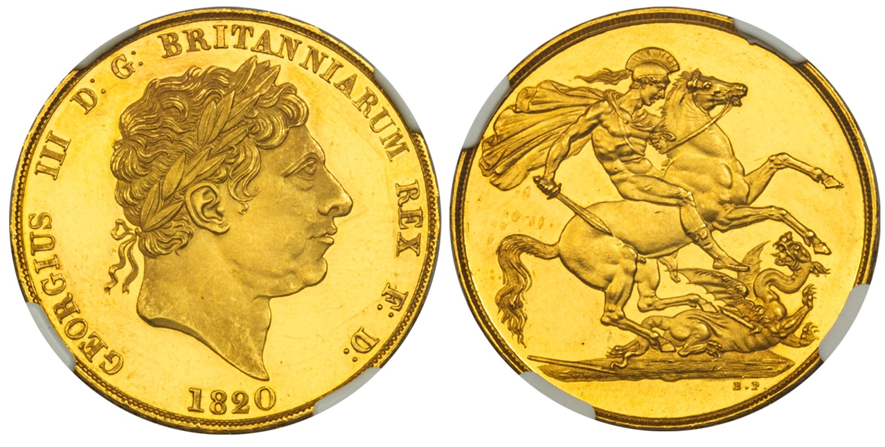 イギリス1820年ジョージ3世2ポンドパターンNGC PR61UCAM画像