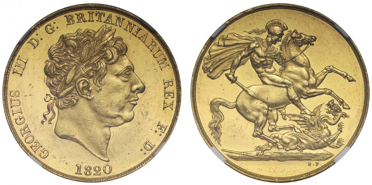 イギリス1820年ジョージ3世2ポンドパターンPF60UCAM画像