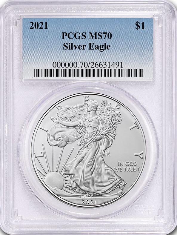 アメリカ2021年アメリカンイーグル銀貨PCGS MS70画像