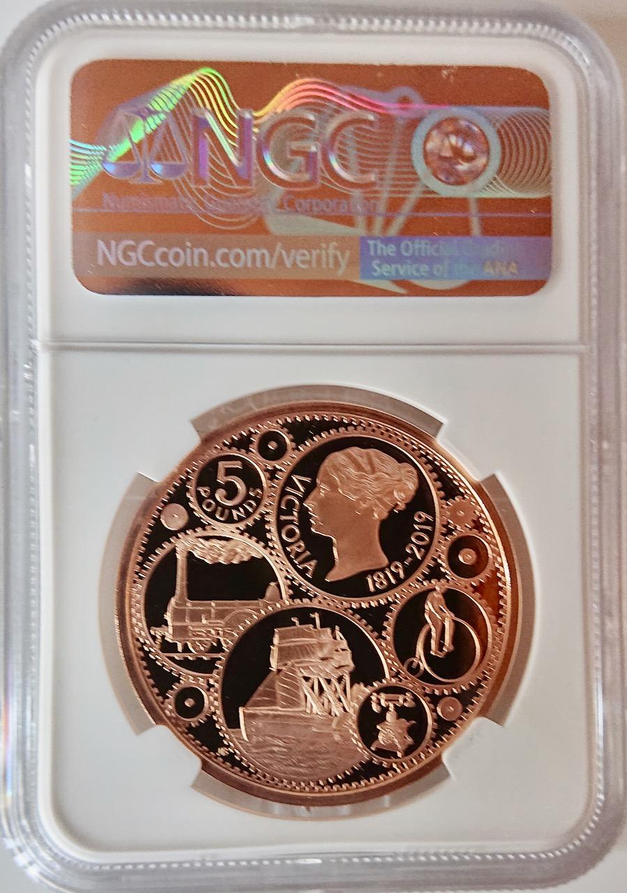 イギリス2019年ヴィクトリア200年5ポンド金貨NGCPF70UCAM画像