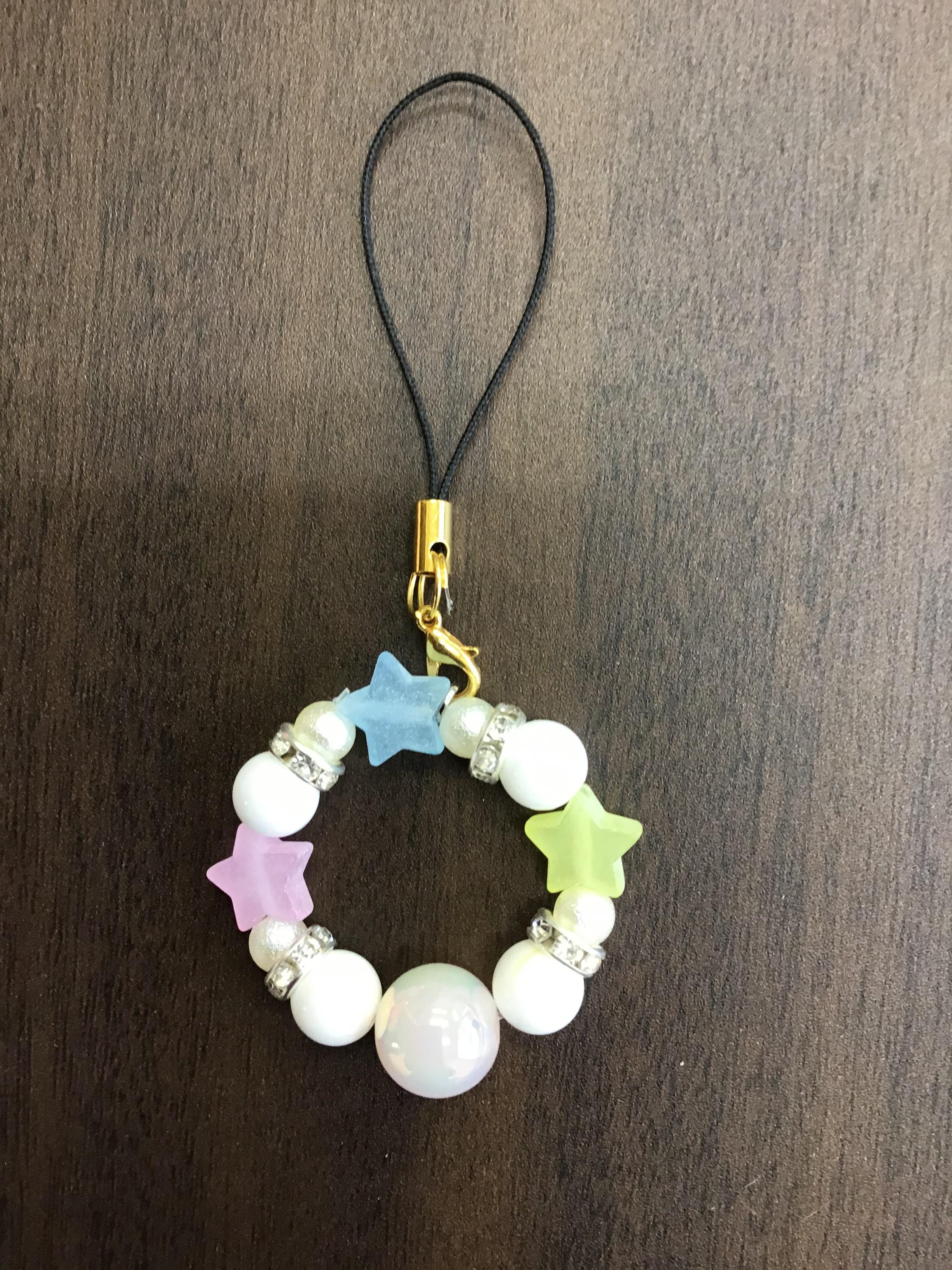 タロット+天然石ストラップ3☆ゴールデンシャコガイ・ホワイトオニキス画像