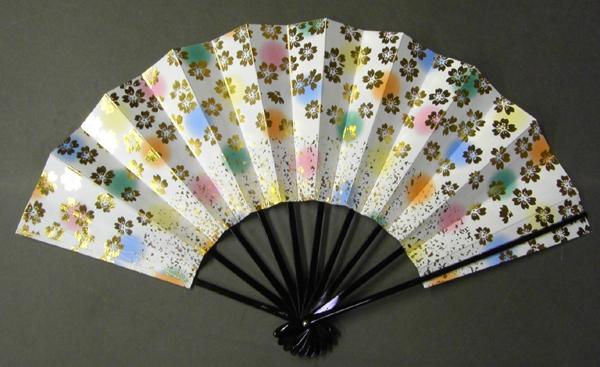 舞扇子 桜と小石 七彩 水玉ぼかしの画像