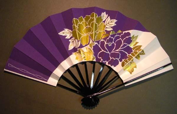 舞扇子 二輪牡丹 紫白画像