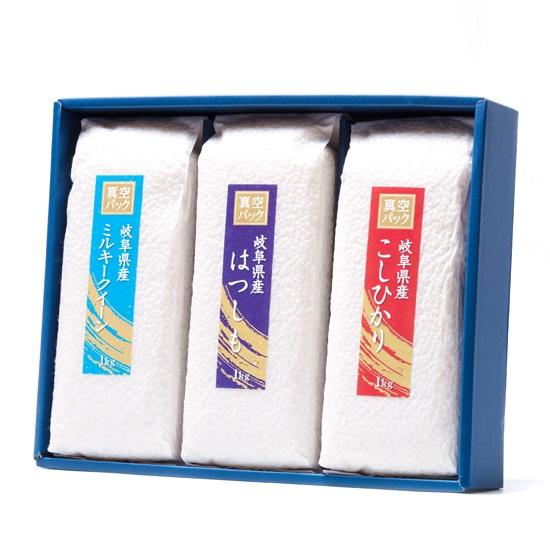 「鮮度の米」真空パック食べ比べセット ミルキークイーン はつしも こしひかり 各1kg×3パック 米農家 野原栄司画像