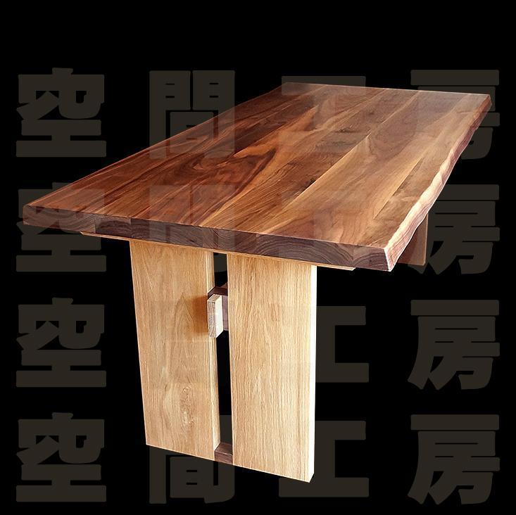 柿渋塗装仕上げ、ウォールナット材のダイニングテーブル (四角形・国産品)の画像