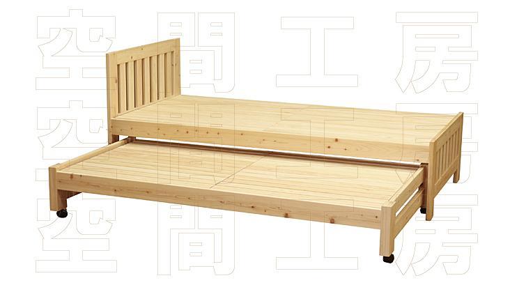 国産ヒノキ材のワイド親子ベッド (国産品)の画像