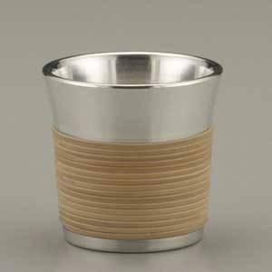 ぐい呑 籐巻き/大阪錫器の画像