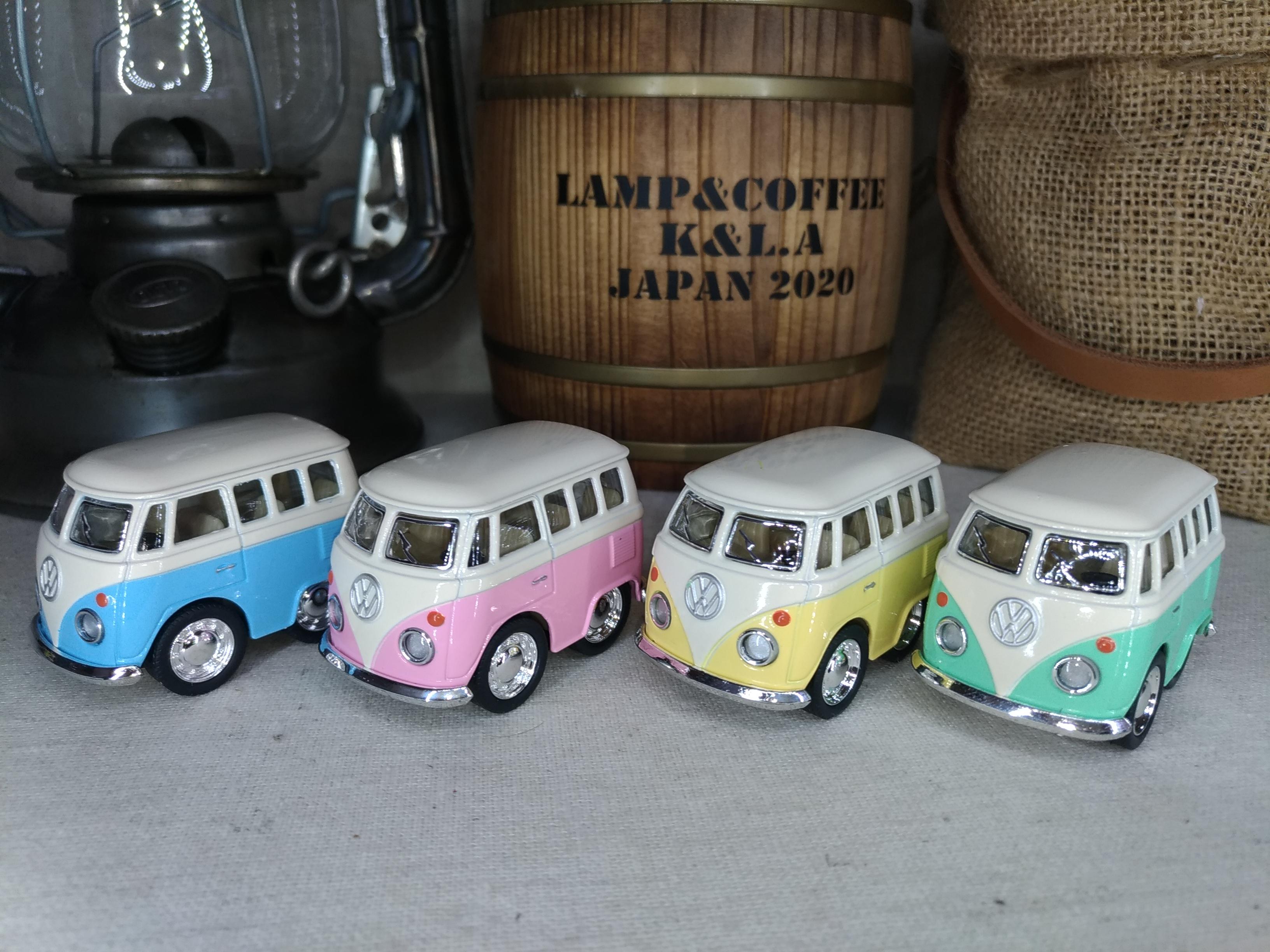 ワーゲンバス パステルカラーLittle Van Pastel Color ★ダイキャストミニカー4台セット画像