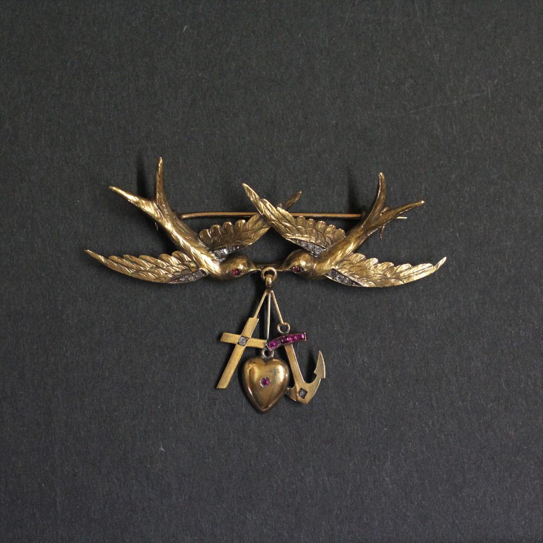 アンティーク ダイヤモンド & ルビー 18金 クリスチャン ペンダントトップ ブローチ 画像