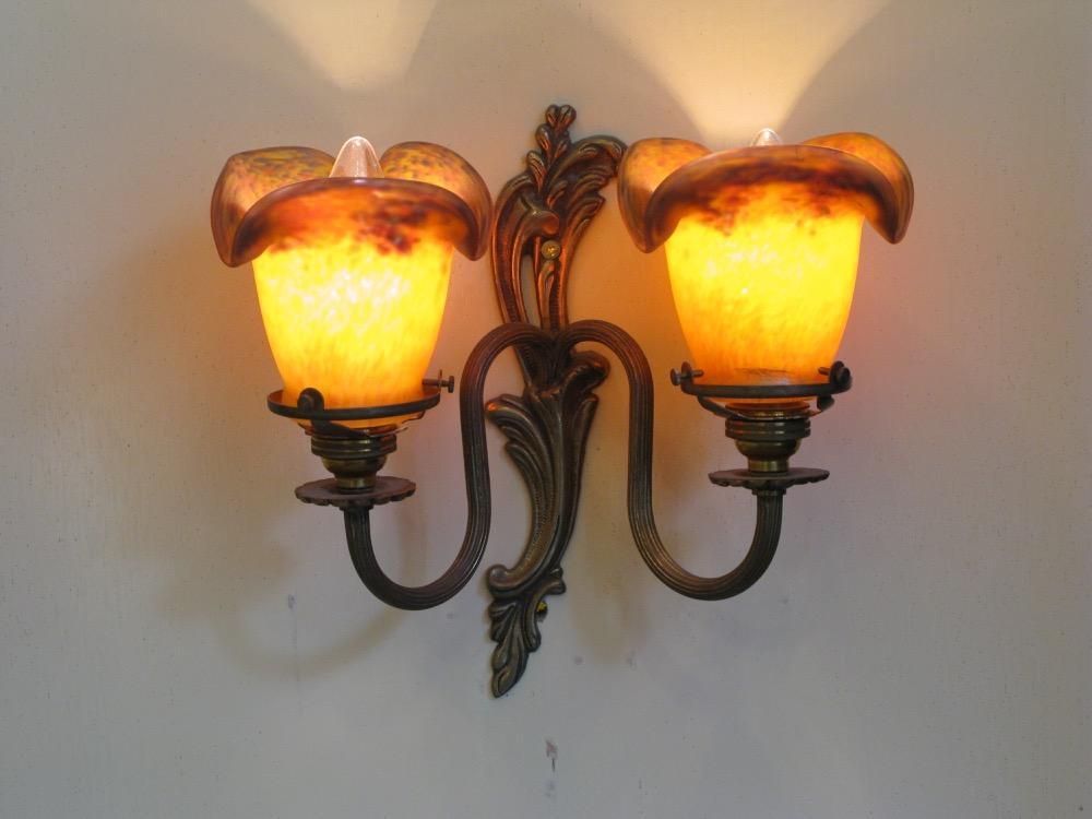 フランス アンティーク 2灯ウォールランプ画像